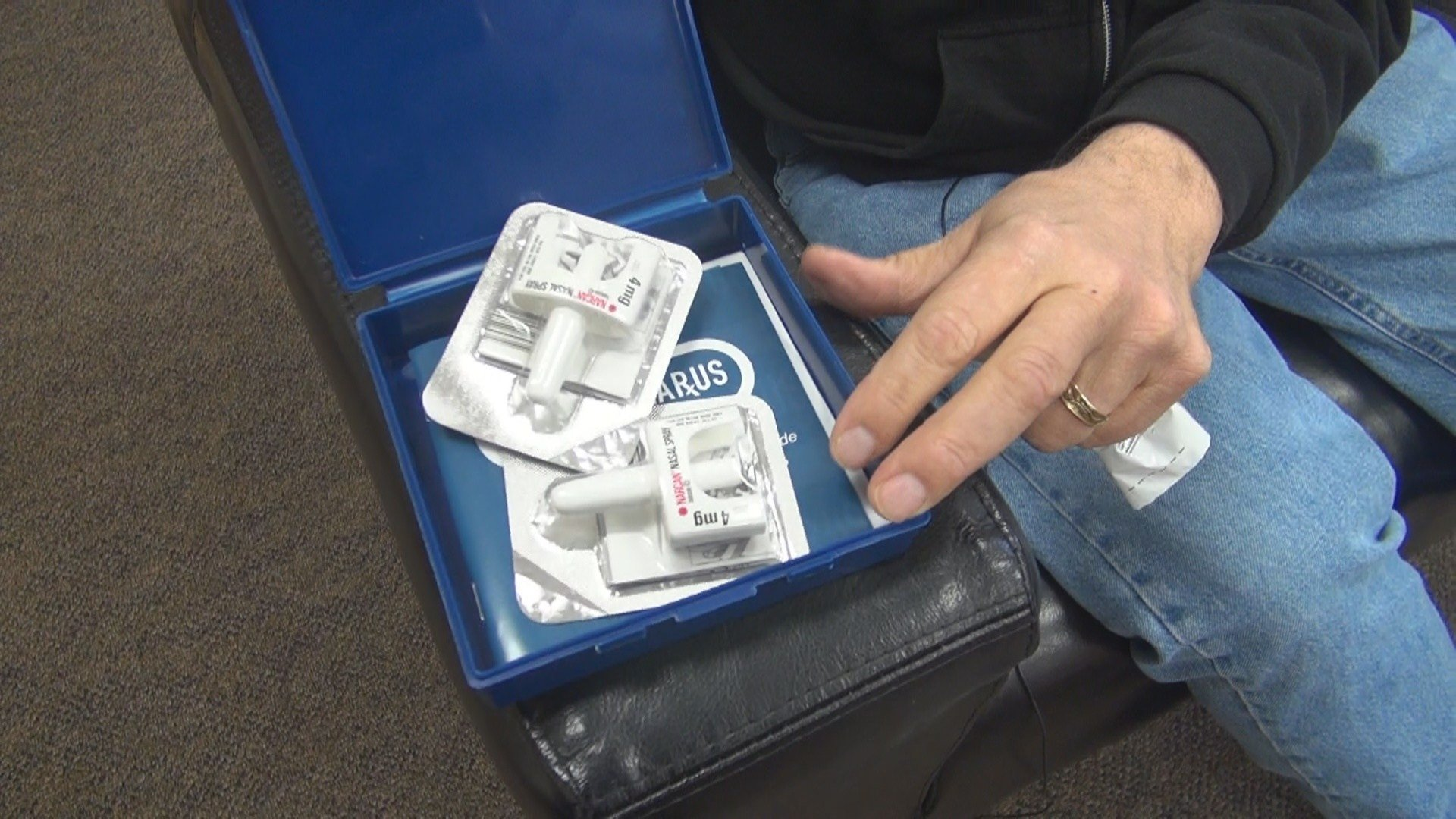 Lou Ortenzio shows his Narcan Kit he keeps on hand in case of an emergency at the Clarksburg Mission.