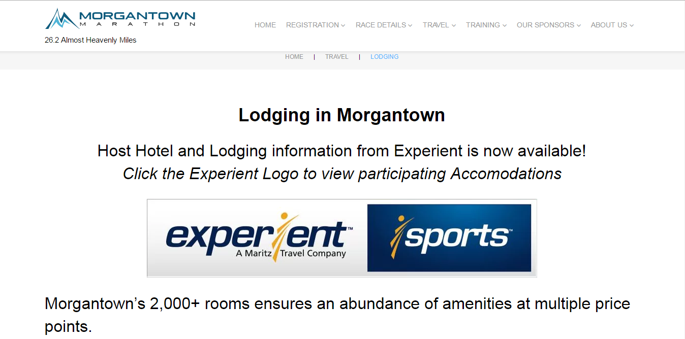 The Morgantown Marathon teamed up with Experient to offer lodging during the event weekend.