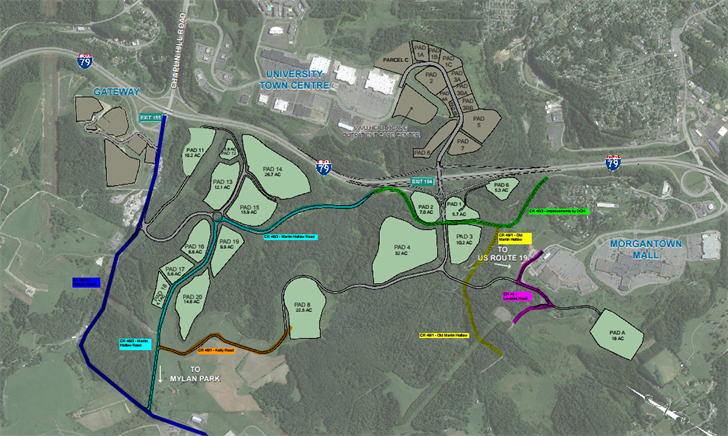 Preliminary Outlines for the West Ridge Business Park in Monongalia County.