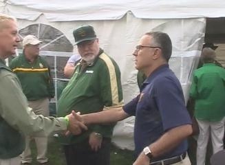 Morgantown Mayor Jim Manilla greets Baylor fans before the game Saturday.