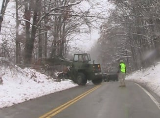 National Guard crews clearing route 26 near Tunnelton