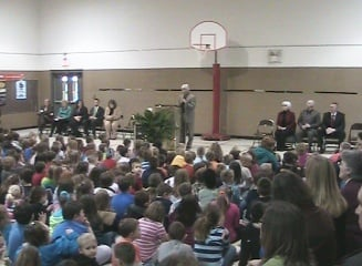 Dedication ceremony in Kingwood Elementary's Gym