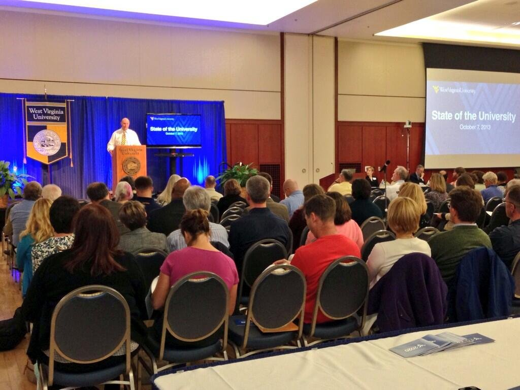 President Clements speaks to the Faculty Assembly at the State of the University Address