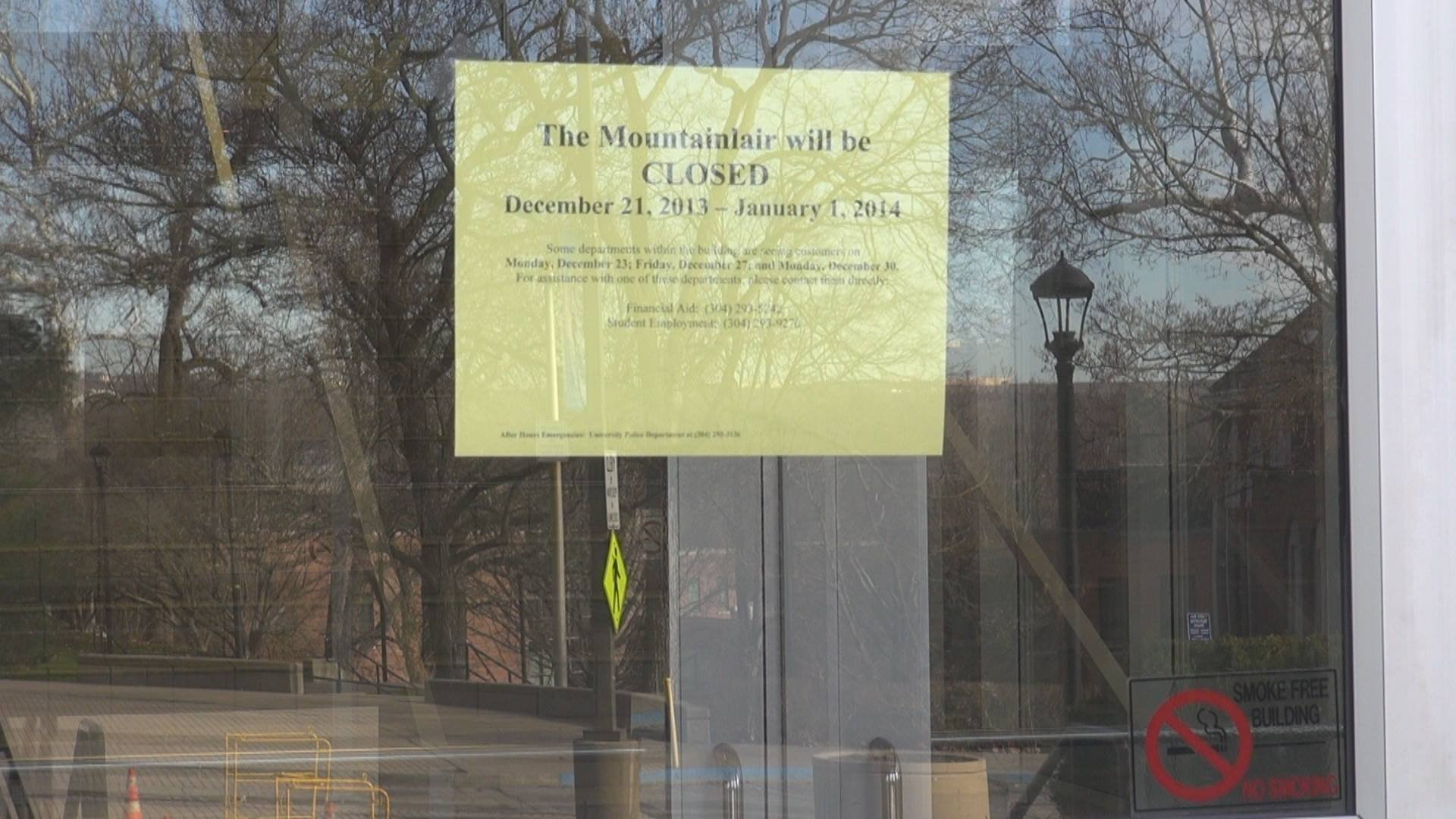 The Mountainlair, a popular place for WVU students to eat, is closed until January 1, 2014.