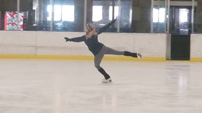 Shaun Adams, a member of the WVU Skating Team, skates for the first time after an injury.