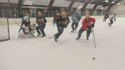 The WVU Ice Hockey Team practicing at the Morgantown Ice Arena for Nationals in March.