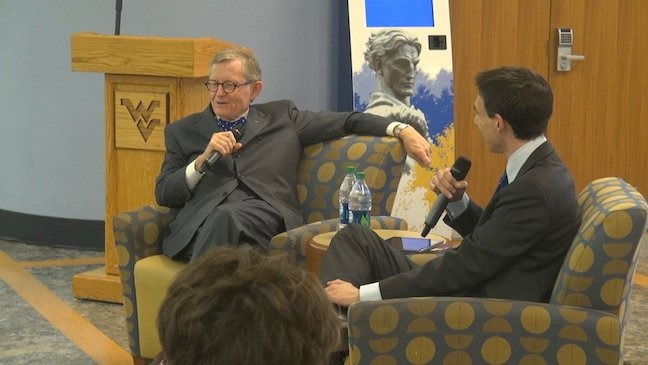 WVU President E. Gordon Gee and SGA President Ryan Campione answer audience questions.
