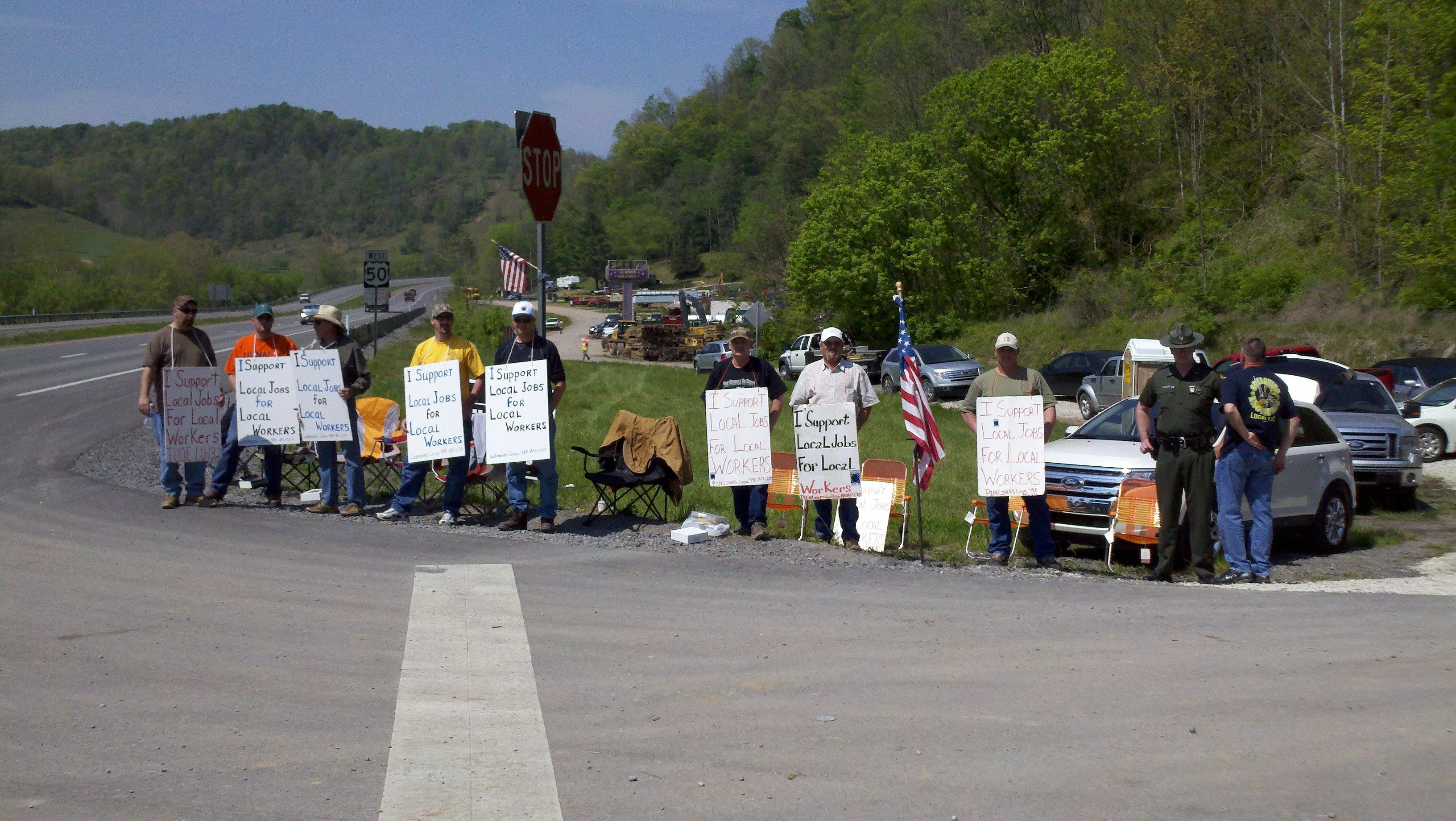 wv workers protest in doddridge county against out of state work workers lined the intersection of route 50 and sherwood forest road in doddridge county monday morning to protest against out of state workers